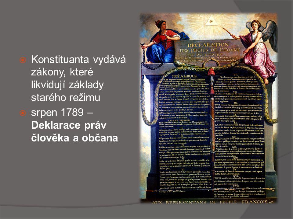 Konstituanta vydává zákony, které likvidují základy starého režimu