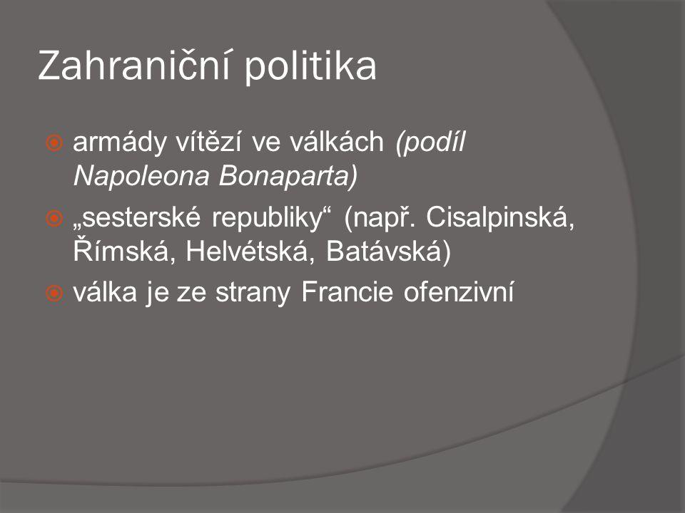 """Zahraniční politika armády vítězí ve válkách (podíl Napoleona Bonaparta) """"sesterské republiky (např. Cisalpinská, Římská, Helvétská, Batávská)"""