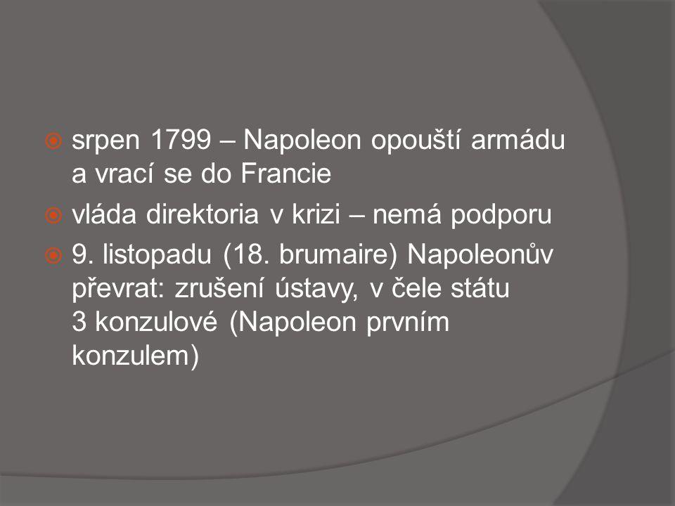 srpen 1799 – Napoleon opouští armádu a vrací se do Francie