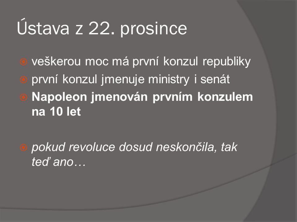 Ústava z 22. prosince veškerou moc má první konzul republiky