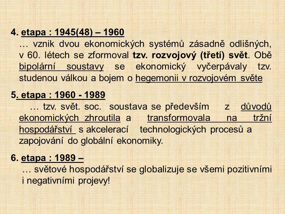 4. etapa : 1945(48) – 1960