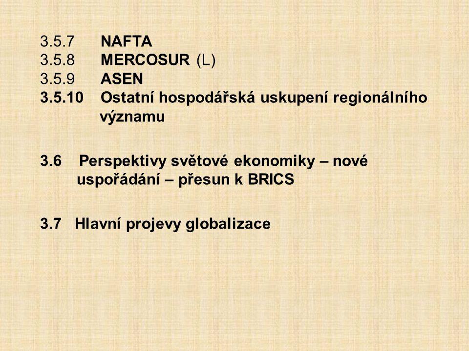 3.5.7 NAFTA 3.5.8 MERCOSUR (L) 3.5.9 ASEN. 3.5.10 Ostatní hospodářská uskupení regionálního významu.