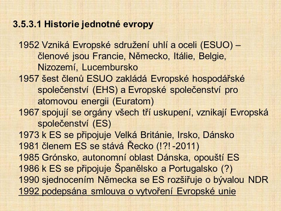 3.5.3.1 Historie jednotné evropy