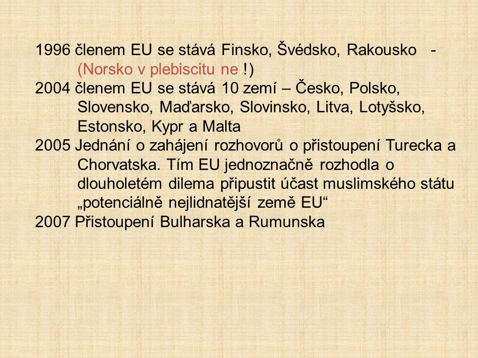 1996 členem EU se stává Finsko, Švédsko, Rakousko - (Norsko v plebiscitu ne !)