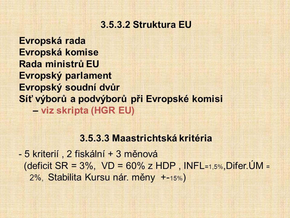 3.5.3.3 Maastrichtská kritéria