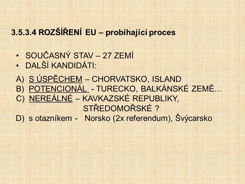 3.5.3.4 ROZŠÍŘENÍ EU – probíhající proces