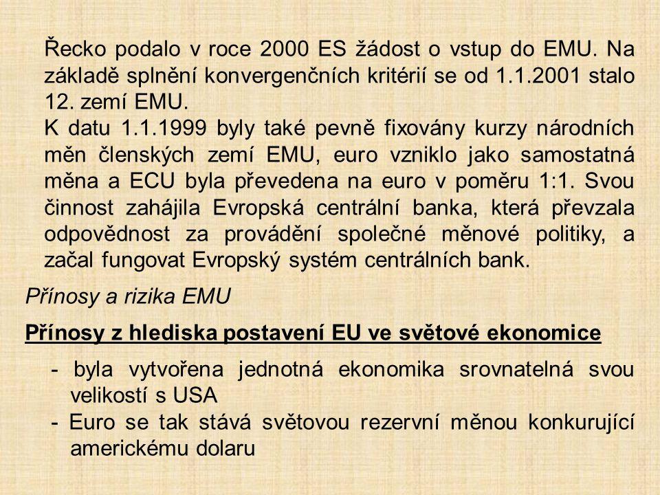 Řecko podalo v roce 2000 ES žádost o vstup do EMU