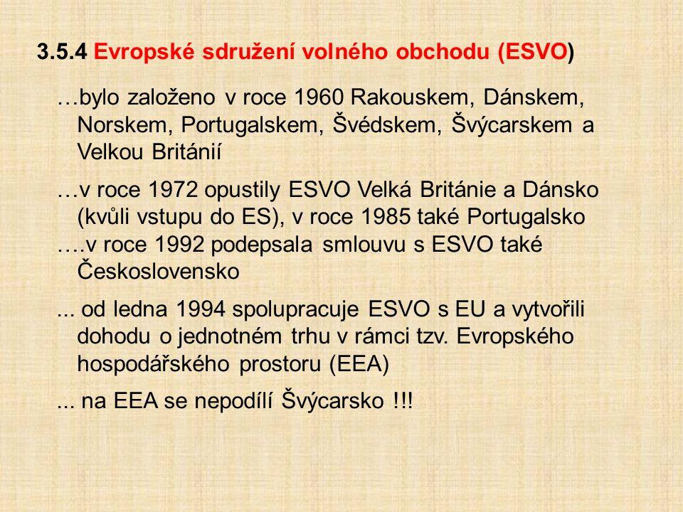 3.5.4 Evropské sdružení volného obchodu (ESVO)