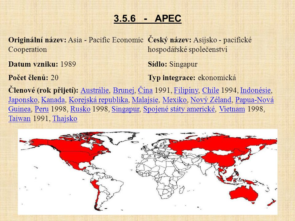3.5.6 - APEC Originální název: Asia - Pacific Economic Cooperation