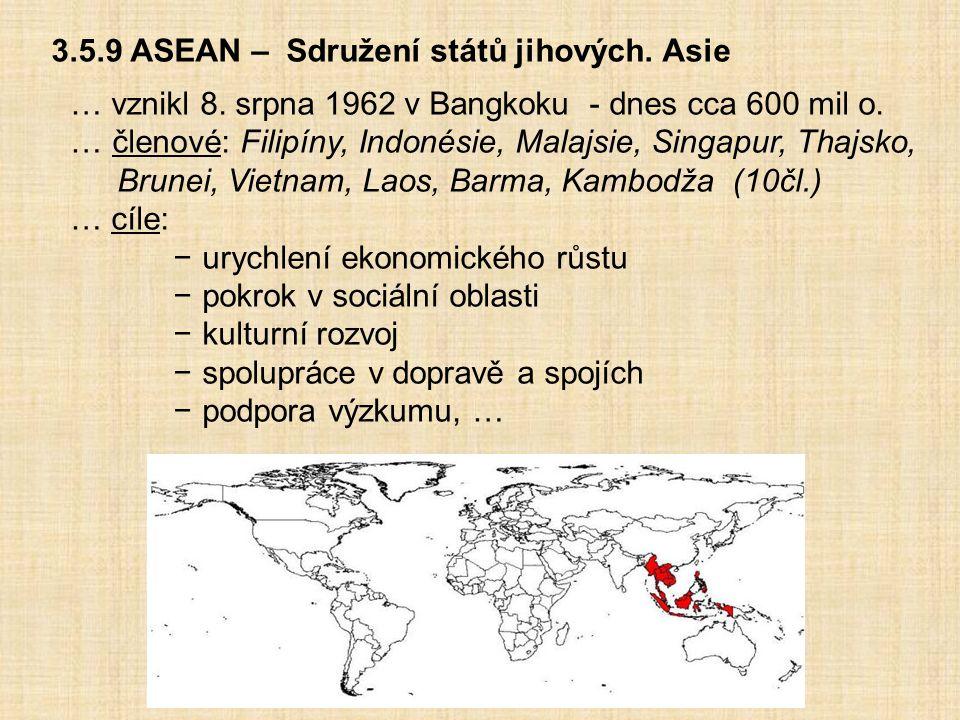 3.5.9 ASEAN – Sdružení států jihových. Asie