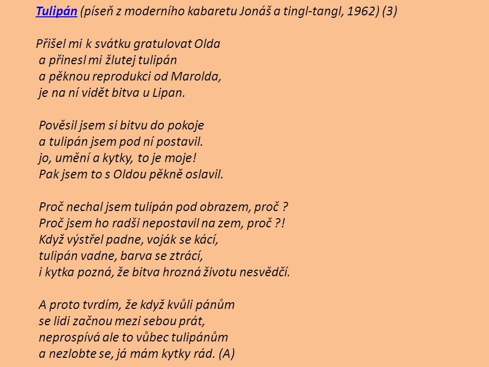 Tulipán (píseň z moderního kabaretu Jonáš a tingl-tangl, 1962) (3)