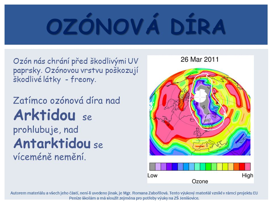 Ozónová díra Ozón nás chrání před škodlivými UV paprsky. Ozónovou vrstvu poškozují škodlivé látky - freony.