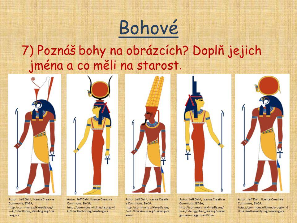 Bohové 7) Poznáš bohy na obrázcích Doplň jejich jména a co měli na starost.