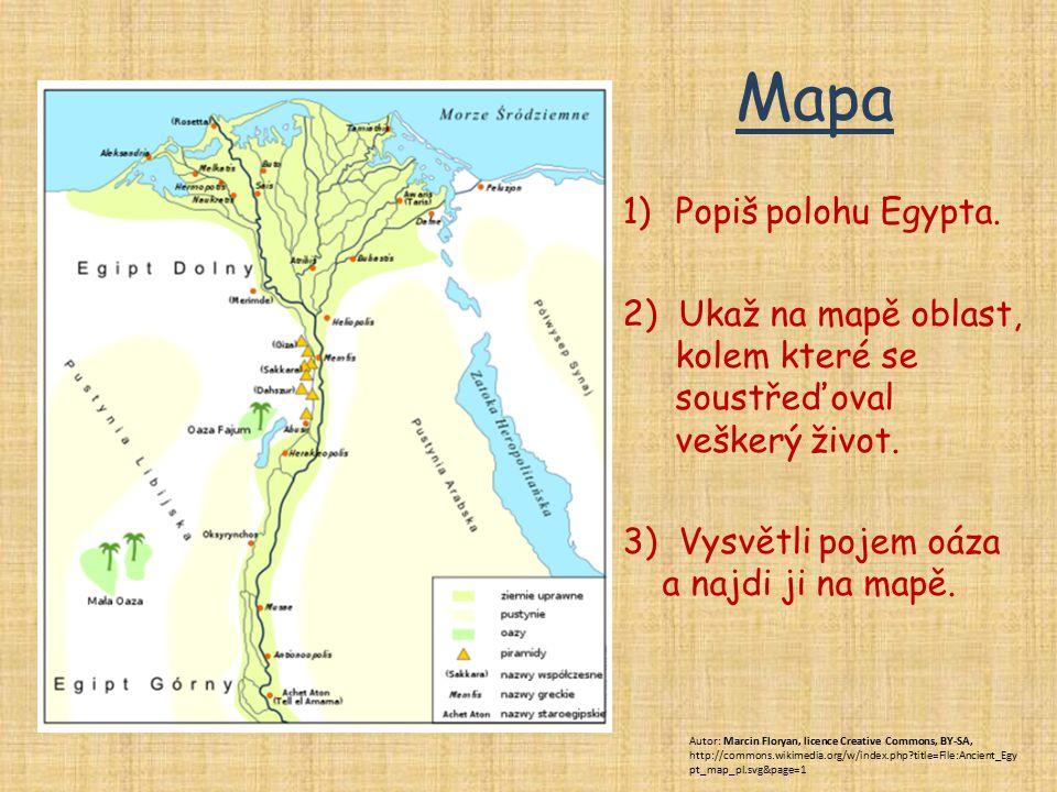 Mapa Popiš polohu Egypta.