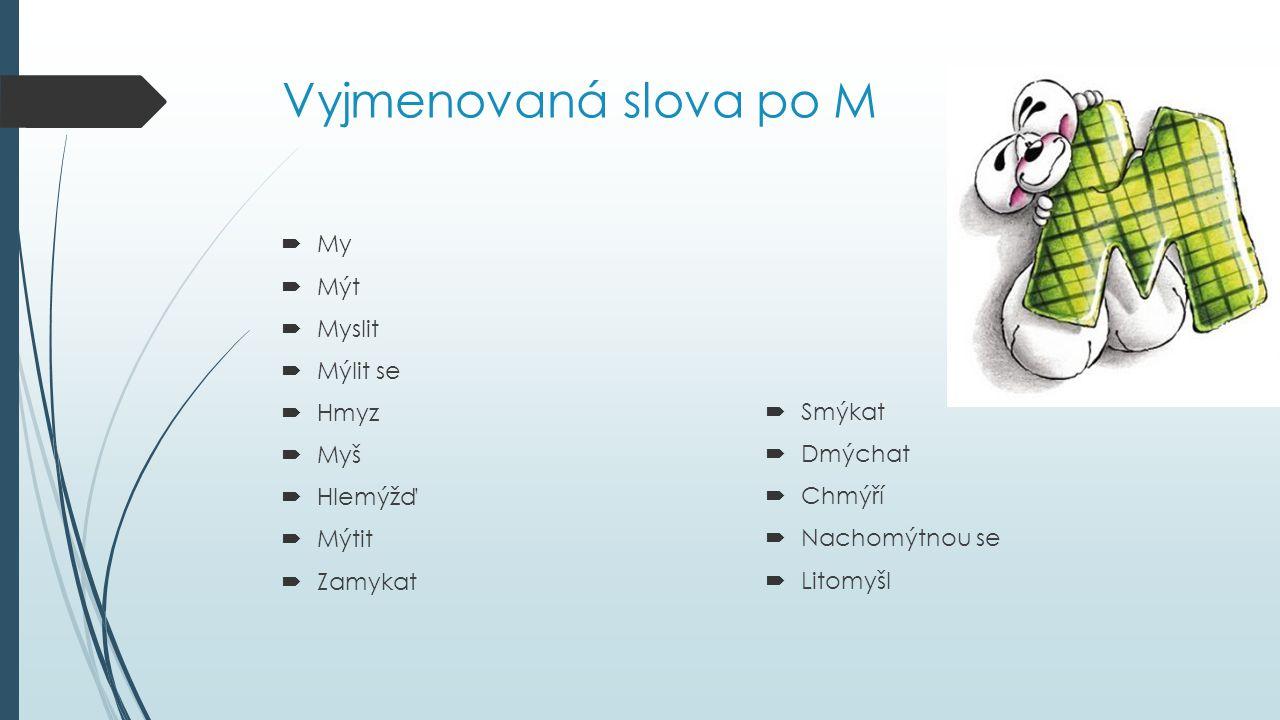Vyjmenovaná slova po M My Mýt Myslit Mýlit se Hmyz Smýkat Myš Dmýchat