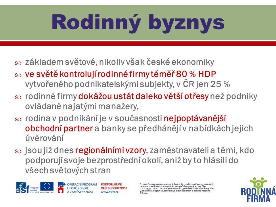 Rodinný byznys základem světové, nikoliv však české ekonomiky