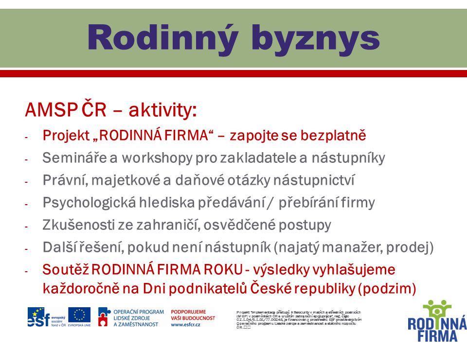 Rodinný byznys AMSP ČR – aktivity:
