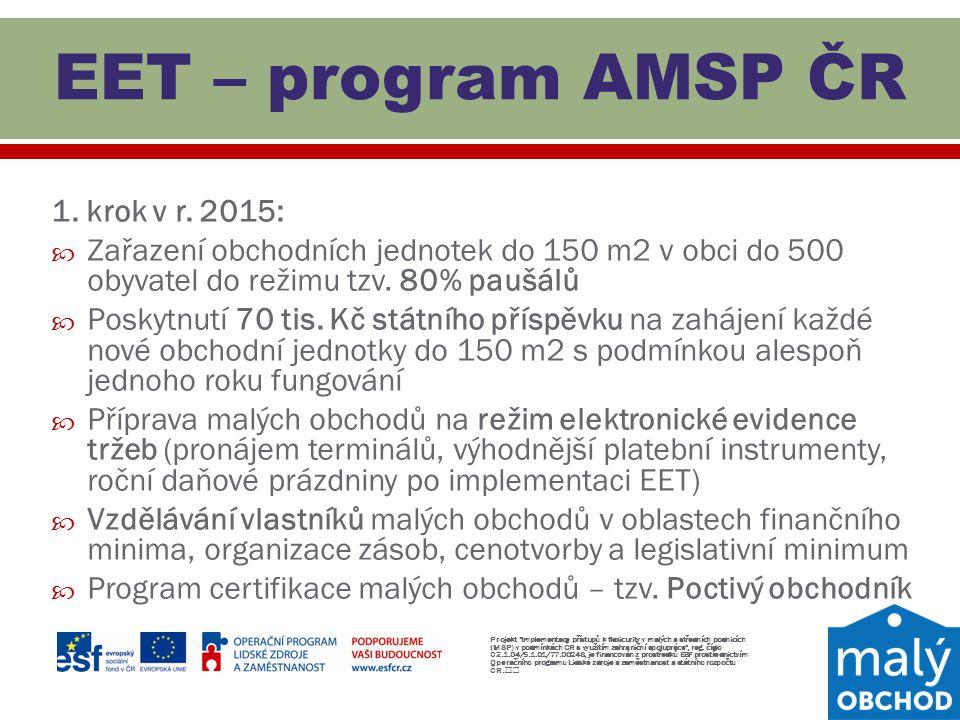 EET – program AMSP ČR 1. krok v r. 2015: