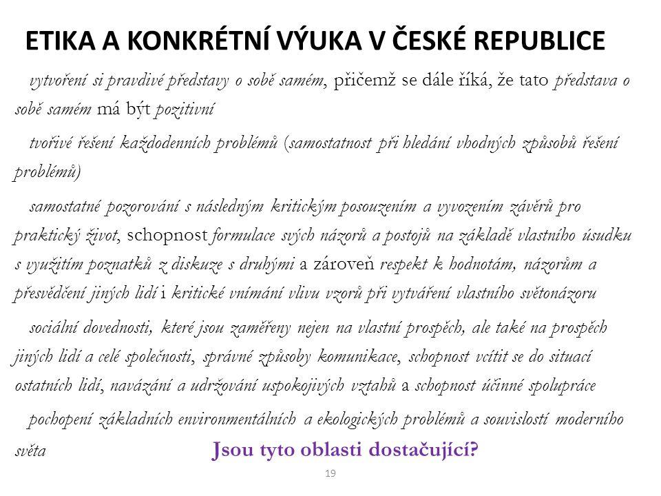 Etika a konkrétní výuka v České republice