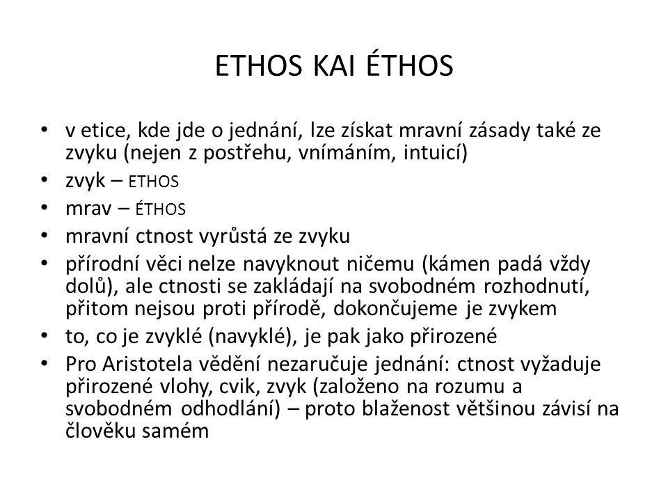 ethos kai éthos v etice, kde jde o jednání, lze získat mravní zásady také ze zvyku (nejen z postřehu, vnímáním, intuicí)