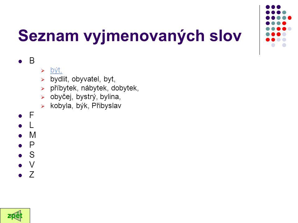 Seznam vyjmenovaných slov