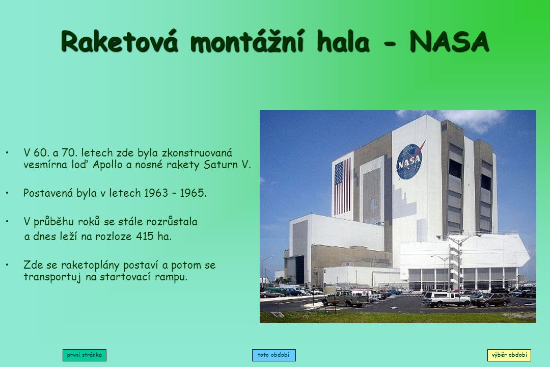 Raketová montážní hala - NASA