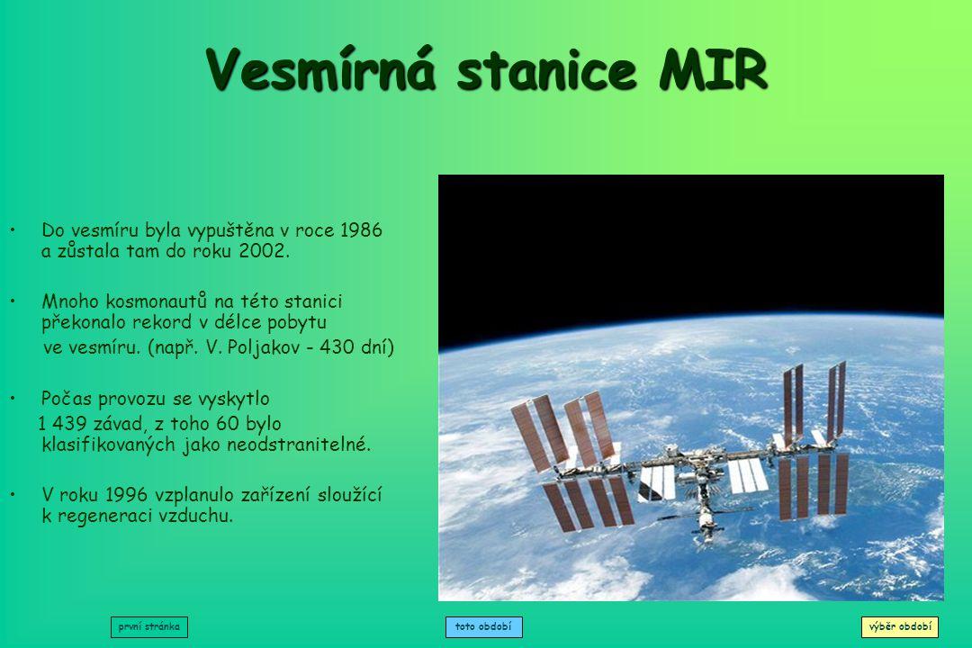 Vesmírná stanice MIR Do vesmíru byla vypuštěna v roce 1986 a zůstala tam do roku 2002.