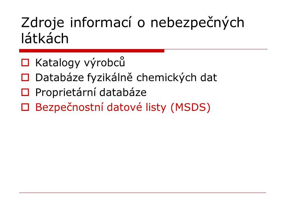 Zdroje informací o nebezpečných látkách
