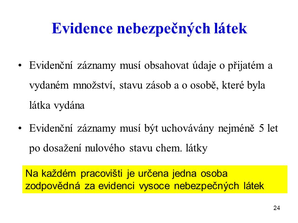Evidence nebezpečných látek