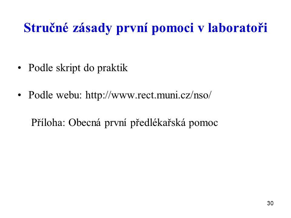 Stručné zásady první pomoci v laboratoři