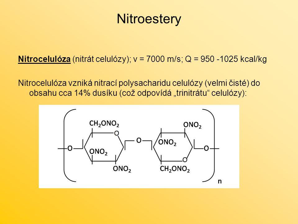 Nitroestery Nitrocelulóza (nitrát celulózy); v = 7000 m/s; Q = 950 -1025 kcal/kg.
