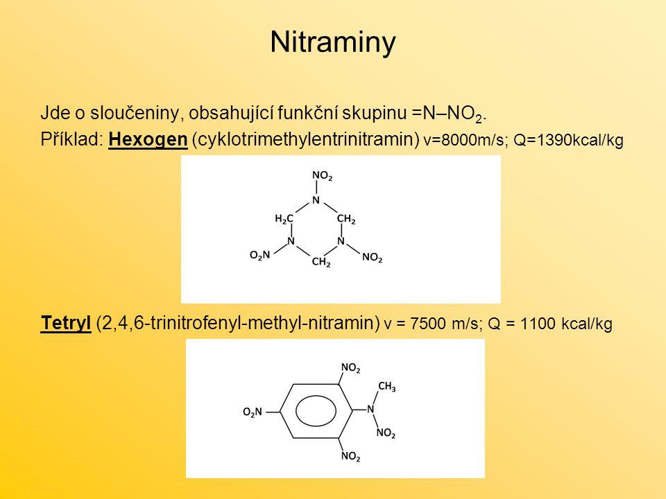 Nitraminy Jde o sloučeniny, obsahující funkční skupinu =N–NO2.
