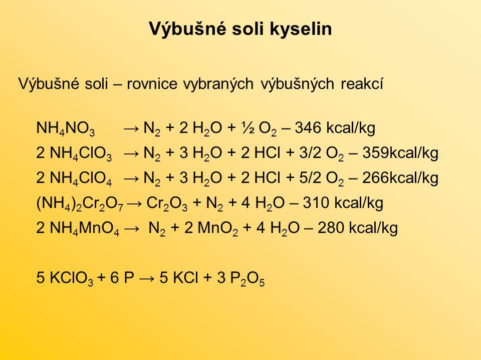 Výbušné soli kyselin Výbušné soli – rovnice vybraných výbušných reakcí