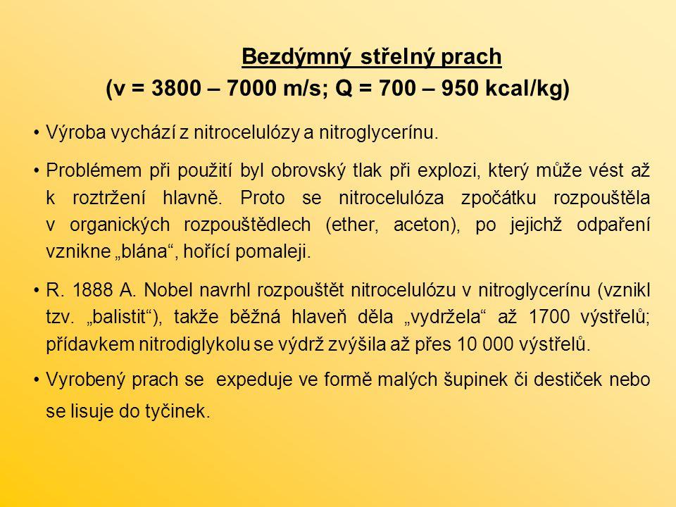 Bezdýmný střelný prach (v = 3800 – 7000 m/s; Q = 700 – 950 kcal/kg)