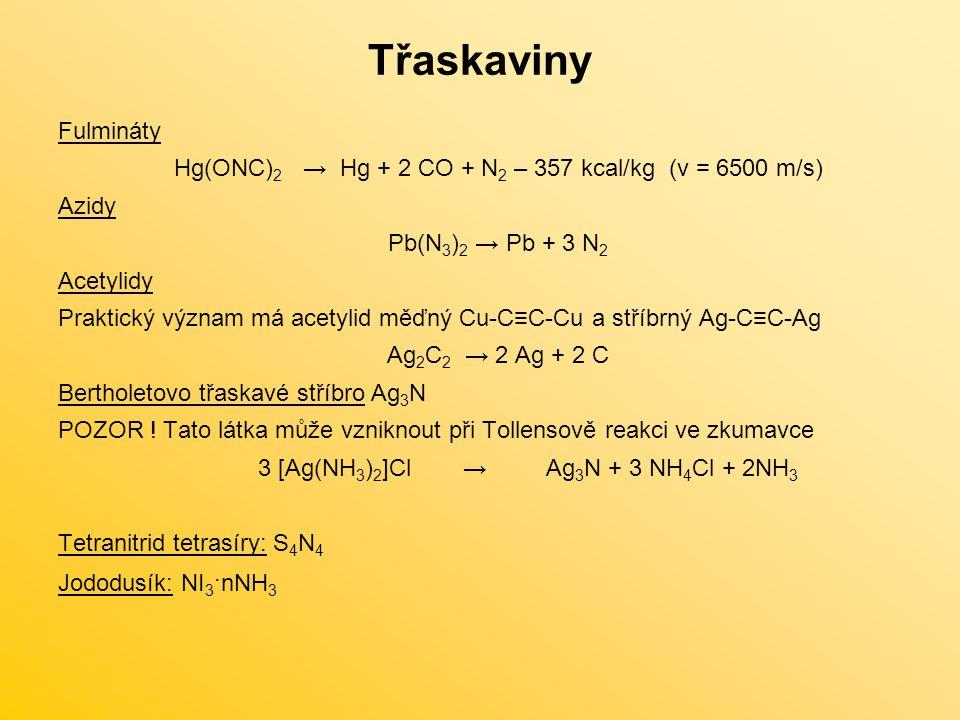 Třaskaviny Fulmináty. Hg(ONC)2 → Hg + 2 CO + N2 – 357 kcal/kg (v = 6500 m/s) Azidy. Pb(N3)2 → Pb + 3 N2.