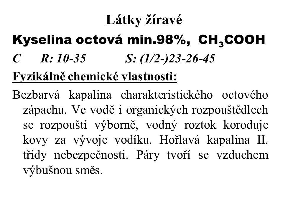 Látky žíravé Kyselina octová min.98%, CH3COOH