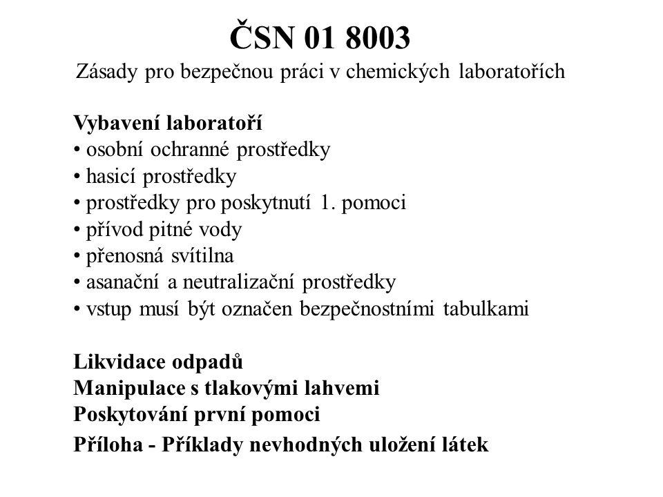 ČSN 01 8003 Zásady pro bezpečnou práci v chemických laboratořích