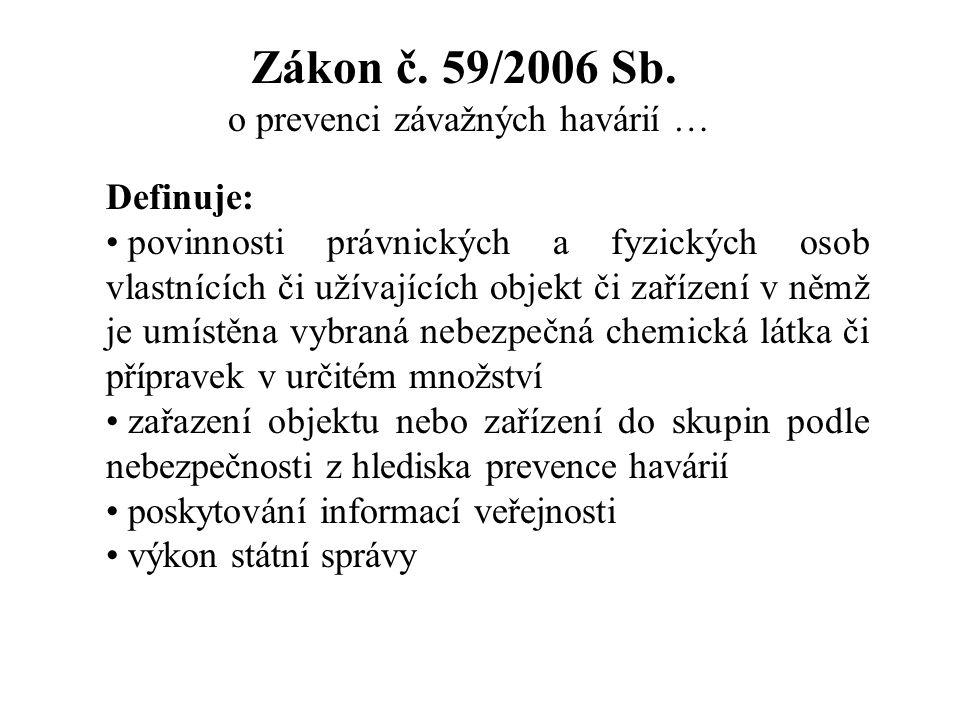 Zákon č. 59/2006 Sb. o prevenci závažných havárií …