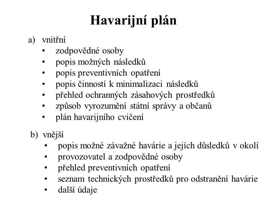 Havarijní plán vnitřní zodpovědné osoby popis možných následků