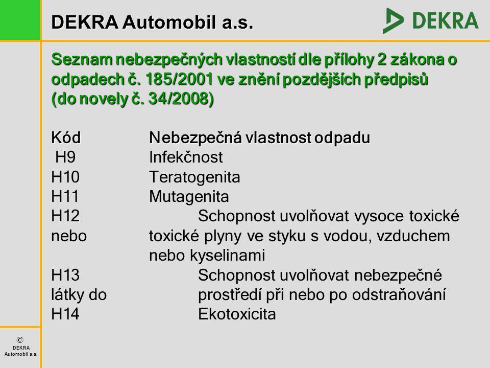 Seznam nebezpečných vlastností dle přílohy 2 zákona o odpadech č