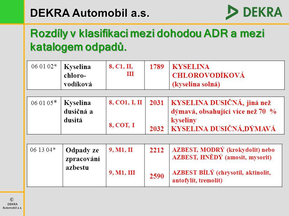Rozdíly v klasifikaci mezi dohodou ADR a mezi katalogem odpadů.