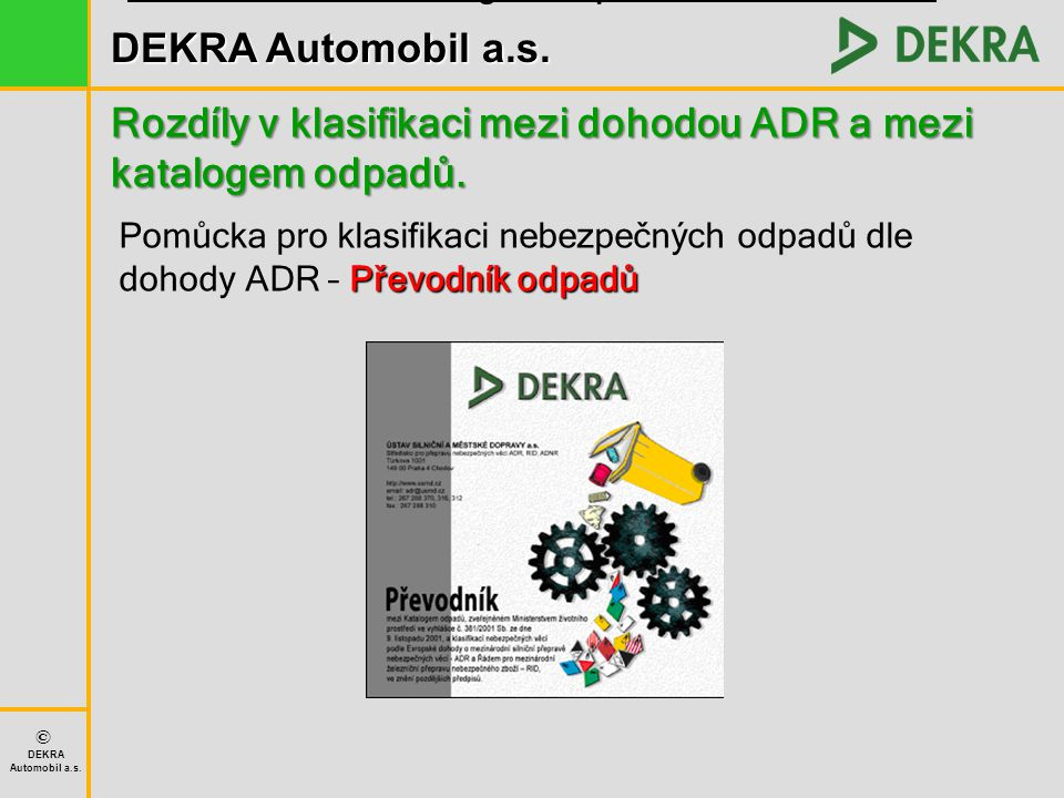 Převodník mezi katalogem odpadů a dohodou ADR