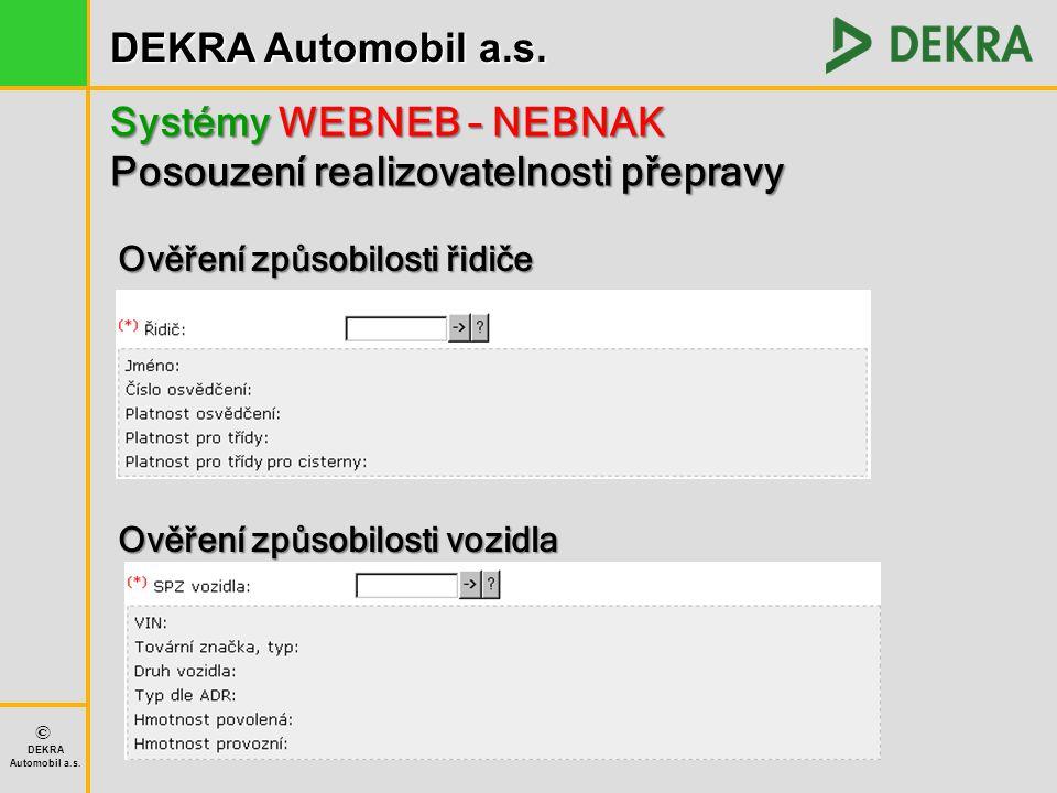Systémy WEBNEB – NEBNAK Posouzení realizovatelnosti přepravy