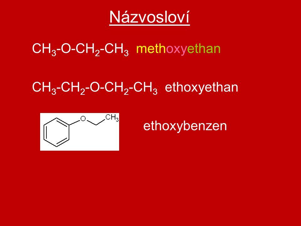 Názvosloví CH3-O-CH2-CH3 methoxyethan CH3-CH2-O-CH2-CH3 ethoxyethan