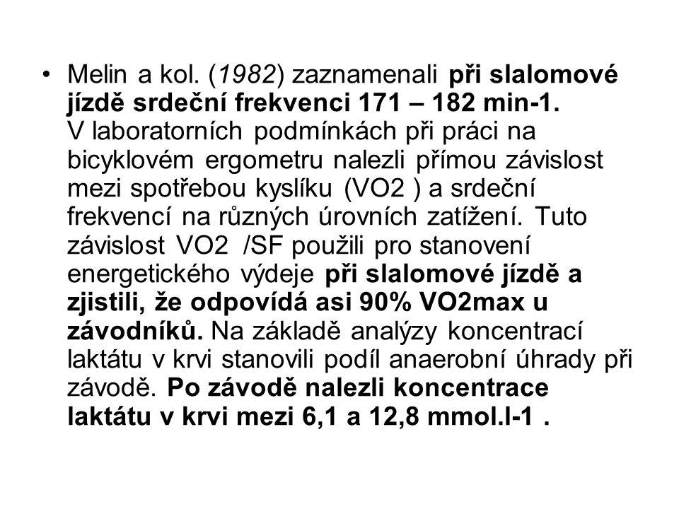 Melin a kol. (1982) zaznamenali při slalomové jízdě srdeční frekvenci 171 – 182 min-1.