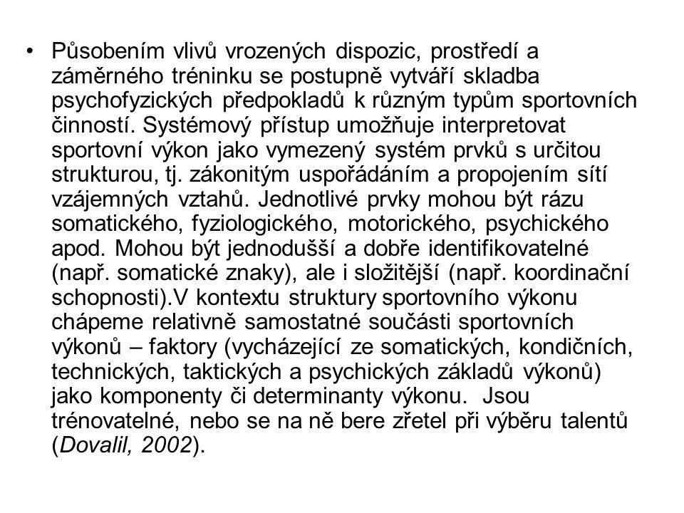 Působením vlivů vrozených dispozic, prostředí a záměrného tréninku se postupně vytváří skladba psychofyzických předpokladů k různým typům sportovních činností.