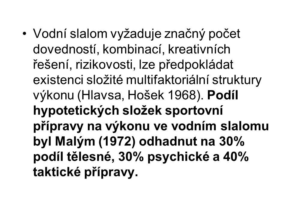 Vodní slalom vyžaduje značný počet dovedností, kombinací, kreativních řešení, rizikovosti, lze předpokládat existenci složité multifaktoriální struktury výkonu (Hlavsa, Hošek 1968).