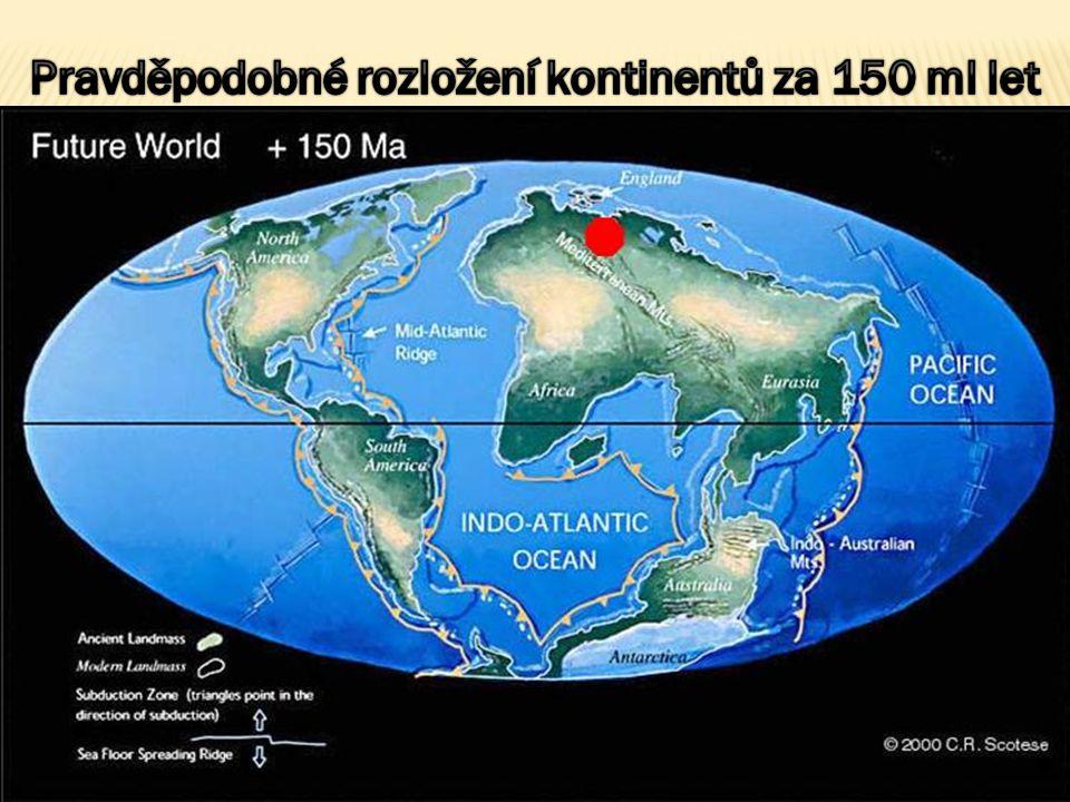 Pravděpodobné rozložení kontinentů za 150 ml let