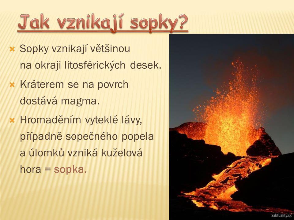 Jak vznikají sopky Sopky vznikají většinou na okraji litosférických desek. Kráterem se na povrch dostává magma.