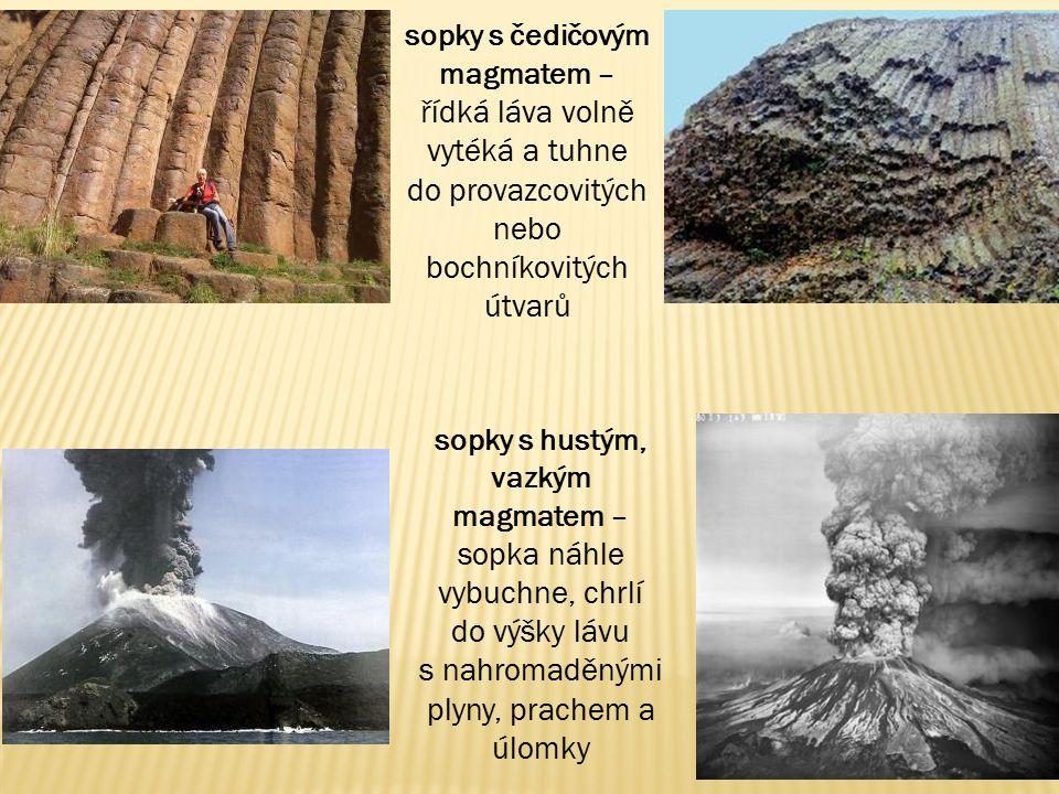 sopky s čedičovým magmatem – řídká láva volně vytéká a tuhne do provazcovitých nebo bochníkovitých útvarů